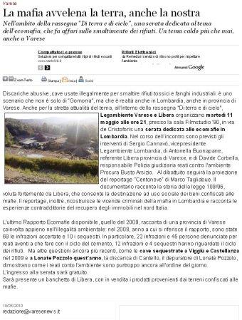 Varesenews del 10 maggio 2010