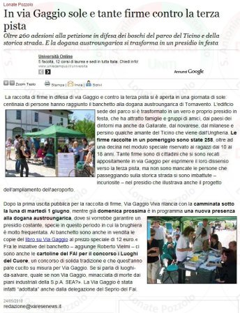 Varesenews del 24 maggio 2010