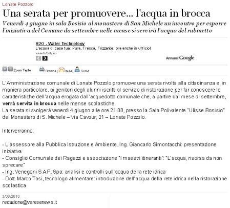 Varesenews del 3 giugno 2010