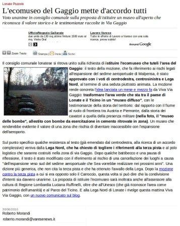 Varesenews del 30 giugno 2010