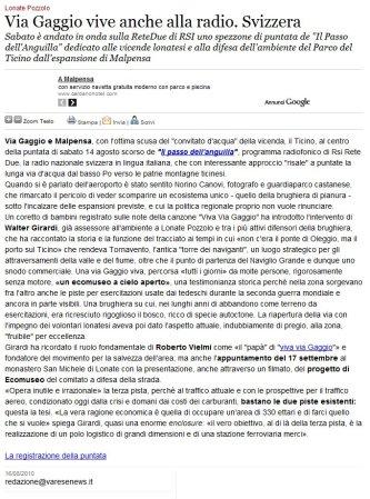 Varesenews del 16 agosto 2010