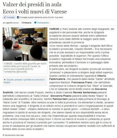 La Provincia di Varese online del 30 agosto 2010