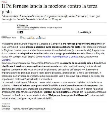 Varesenews del 30 agosto 2010