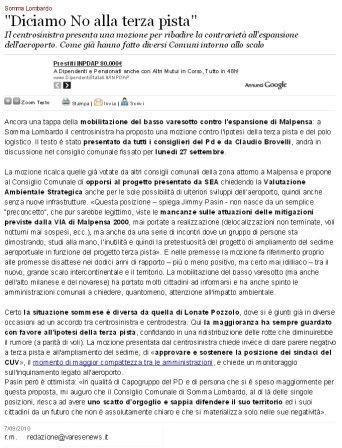 Varesenews del 7 settembre 2010
