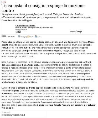 Varesenews del 14 settembre 2010