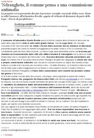 Varesenews del 16 settembre 2010