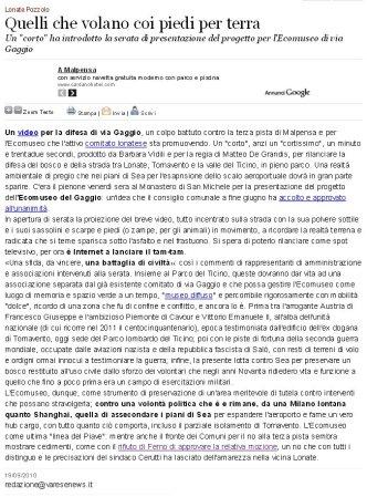 Varesenews del 19 settembre 2010