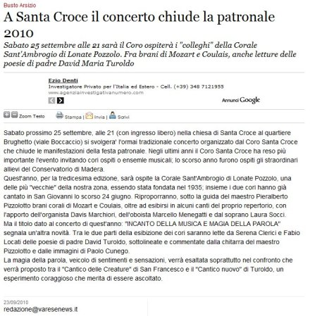 Varesenews del 23 settembre 2010