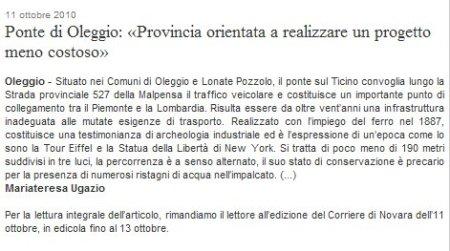 Corriere di Novara del 11 ottobre 2010