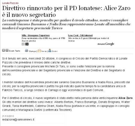 Varesenews del 21 ottobre 2010