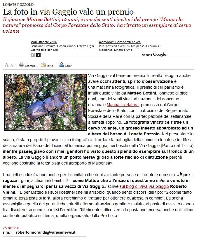 Varesenews del 26 ottobre 2010