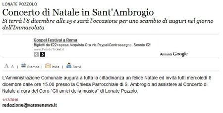 Varesenews del 1° dicembre 2010