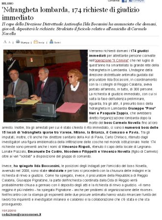 Varesenews del 15 dicembre 2010