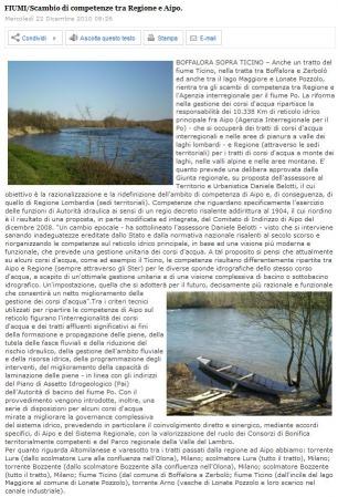 Quotidiano Asse Sempione del 22 dicembre 2010