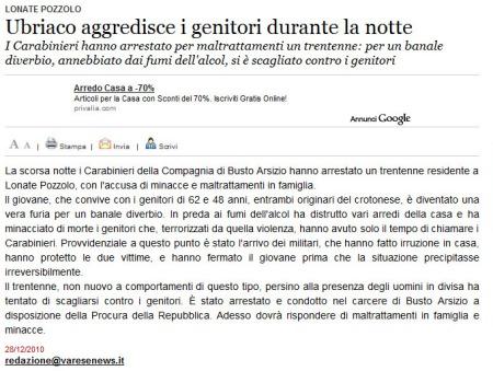 Varesenews del 28 dicembre 2010