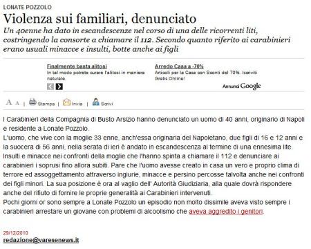 Varesenews del 29 dicembre 2010
