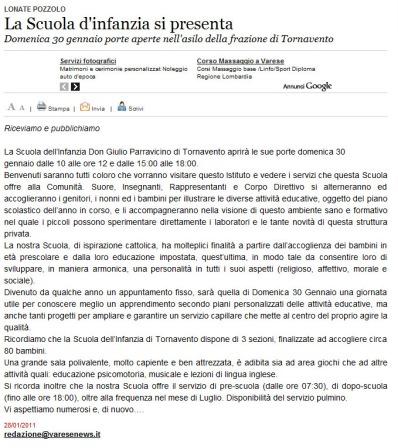 Varesenews del 28 gennaio 2011