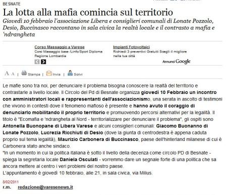 Varesenews del 8 febbraio 2011