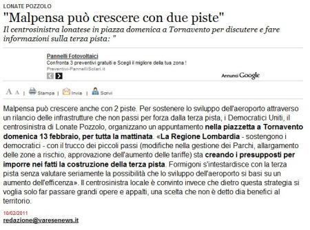Varesenews del 10 febbraio 2011