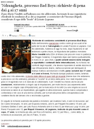 Varesenews del 22 febbraio 2011