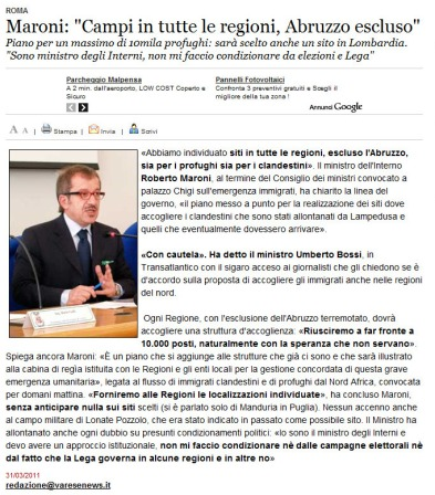Varesenews del 31 marzo 2011