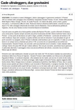 La Provincia Pavese del 27 aprile 2011