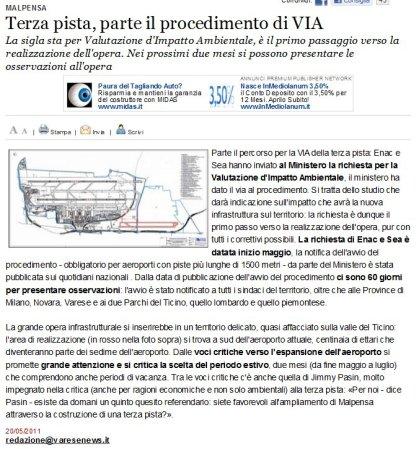 Varesenews del 20 maggio 2011