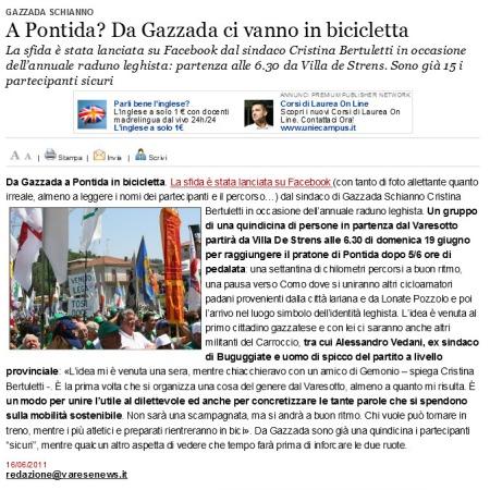 Varesenews del 16 giugno 2011