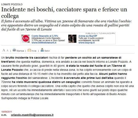 Varesenews del 18 settembre 2011