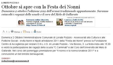 Varesenews del 22 settembre 2011