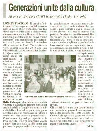 La Prealpina del 19 ottobre 2011