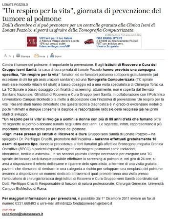 Varesenews del 25 novembre 2011