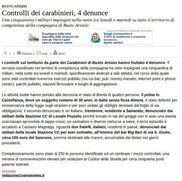 Varesenews del 14 dicembre 2011