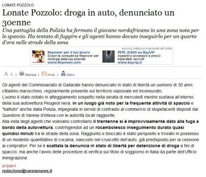 Varesenews del 2 dicembre 2011