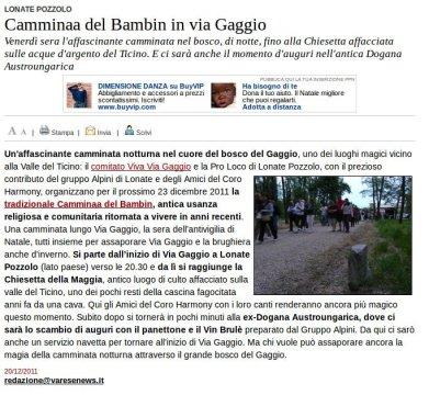 Varesenews del 20 dicembre 2011