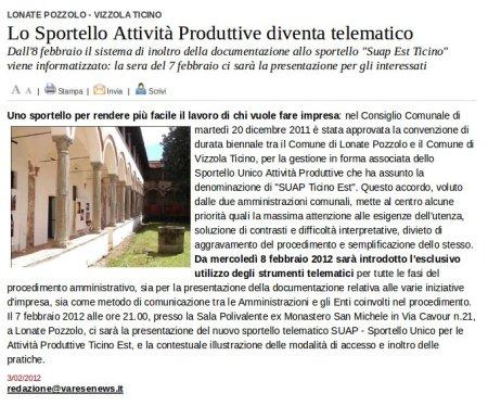 Varesenews del 3 febbraio 2012