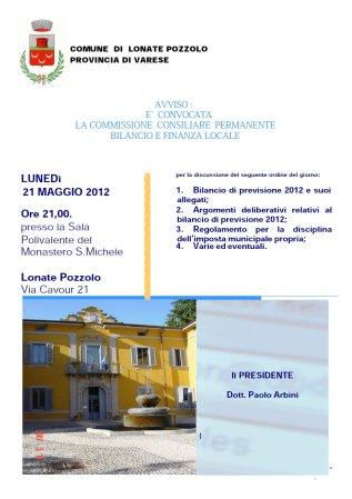 Commissione bilancio del 21 maggio 2012