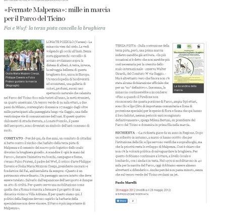 Corriere della Sera del 28 maggio 2012