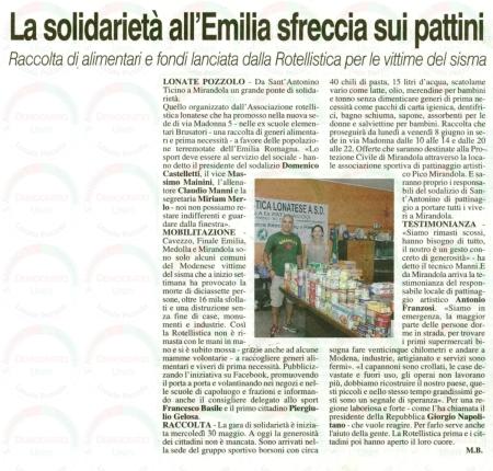 La Prealpina del 3 giugno 2012