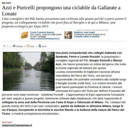 Varesenews del 18 luglio 2012