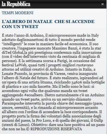 La Repubblica del 15 dicembre 2012