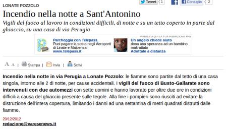 Varesenews del 20 dicembre 2012