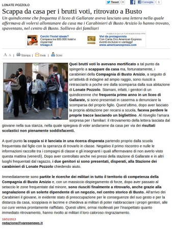 Varesenews del 18 gennaio 2013
