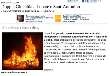 Varesenews del 28 gennaio 2013