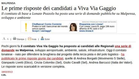 Varesenews del 18 febbraio 2013