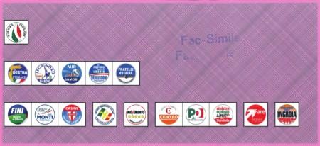 Facsimile scheda elettorale Camera (Circoscrizione Lombardia2)