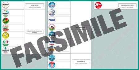 Facsimile scheda elettorale Regione Lombardia