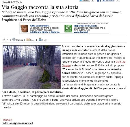 Varesenews del 13 marzo 2013