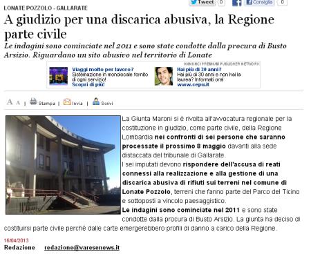 Varesenews del 16 aprile 2013