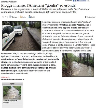 Varesenews del 20 aprile 2013